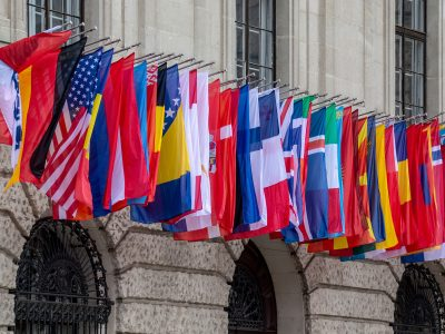 international flags outside the department of commerce
