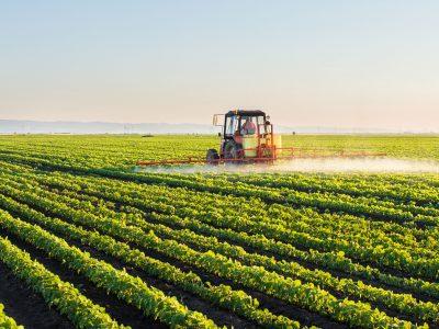 spraying soy field
